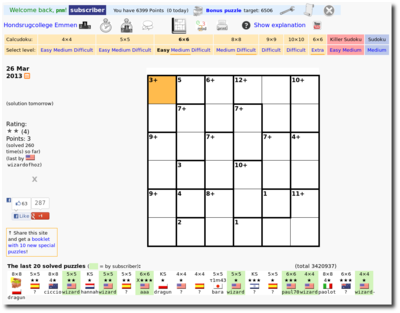 Online puzzle site with many features<br>including <a href='http://www.calcudoku.org/killersudoku'>Killer Sudoku</a> and <a href='http://www.calcudoku.org/printable-sudoku'>printable Sudoku</a><br>C++, Perl, Javascript, PHP