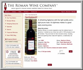 Online Italian wine store. PHP, Javascript, Zencart