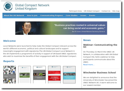 Conversion of the <a href='https://www.unglobalcompact.org.uk'>UN Global Compact UK</a> website from ASP to a LAMP system<br>PHP, Javascript